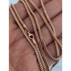 HarlemBling 14K Rose Gold 925 Silver Chain Necklac
